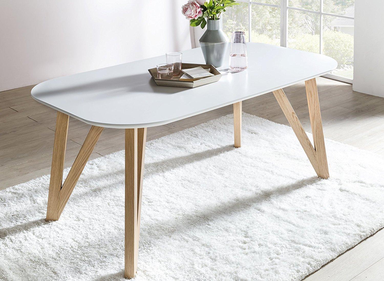 SalesFever® Esszimmertisch Aino, Küchentisch in matt-weiß, 140 x 90 ...