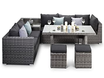 Pleasing Grey Rattan Garden Furniture Corner Sofa With Dining Table Interior Design Ideas Gentotryabchikinfo