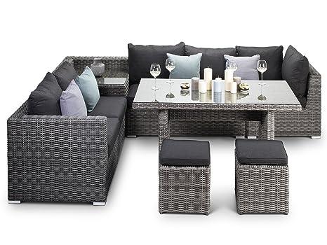 Verona Divano per esterni, colore: grigio, modulare in Rattan, con ...