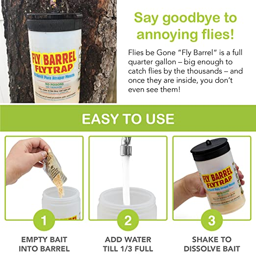 Amazon.com : Flies Be Gone Barrel Fly Trap(2 Pack) - Reusable Outdoor Flycatcher - Sturdy Tidy Container Camouflages Fly Catch - 2 Packs Quick Starting 100% ...