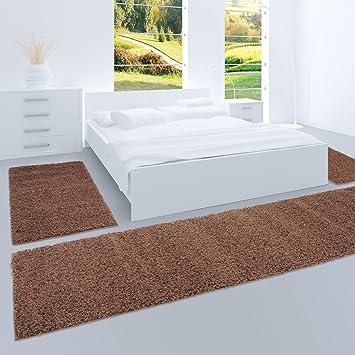 Carpet City Shaggy Bettumrandung Hochflor Teppiche In Braun, Einfarbig Für  Schlafzimmer, 3