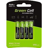 Green Cell 4X AAA 950mAh 1.2V Juego de 4 Pilas Recargables AAA Ni-MH Baja Autodescarga Precarga Alta Capacidad HR6 BK…