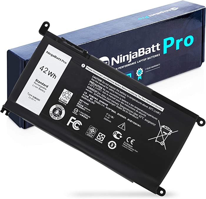NinjaBatt Laptop Battery WDX0R for Dell Inspiron 15 7579 5567 5578 5570 5568 7569 5579 5565 7573 Inspiron 13 7378 5378 7368 5379 5368 7375 Inspiron 17 5767 Y3F7Y FC92N - High Performance [42Wh/11.4v]