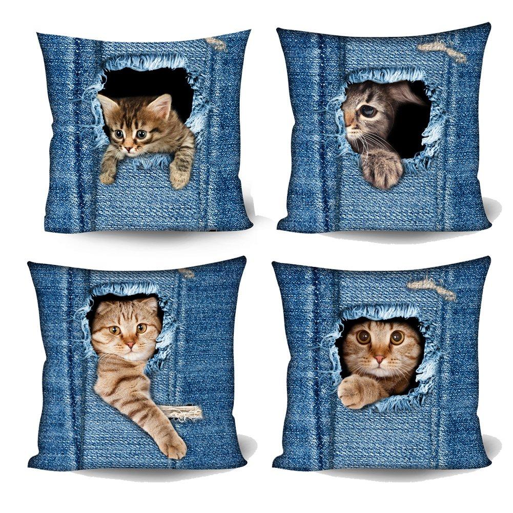 Coloranimal Cute Denim Pocket Cat Pattern Cushion Covers Home Hotel Decor Sofa Chair Living Room