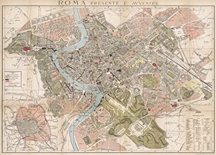Amazon cavallini co rome map decorative decoupage poster rome map decorative decoupage poster wrapping paper sheet gumiabroncs Image collections