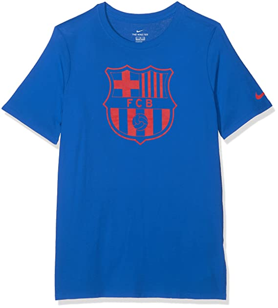 a31b67a74 Image Unavailable. Image not available for. Color: Nike Youth FC Barcelona  Crest T-Shirt Royal Blue/Red ...