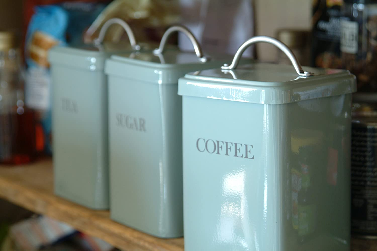 garden trading set of 3 canisters tea coffee sugar in garden trading set of 3 canisters tea coffee sugar in shutter blue amazon co uk kitchen home