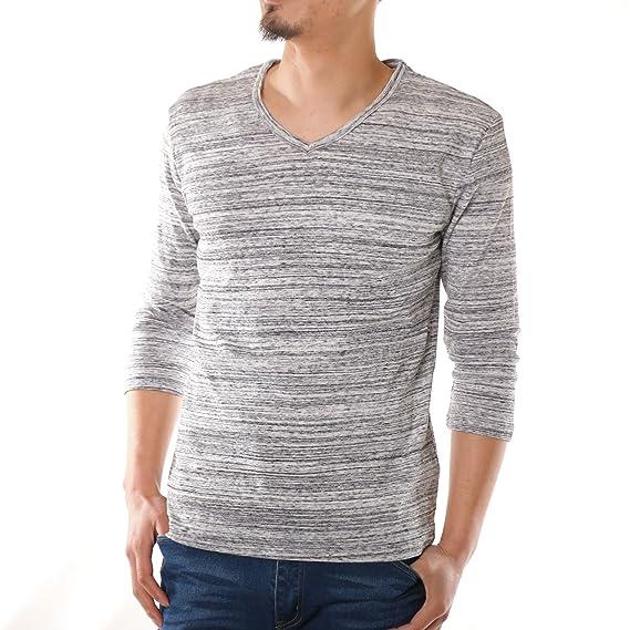 04a1b132a271e0 (スコーネ) SKKONE Tシャツ メンズ 7分袖 杢 カットソー インナー トップス 黒 グレー