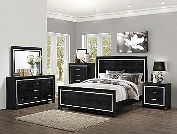 Amazon.com: Soflex Jenny Black Crocodile Texture Bedroom Set 4 Pcs ...