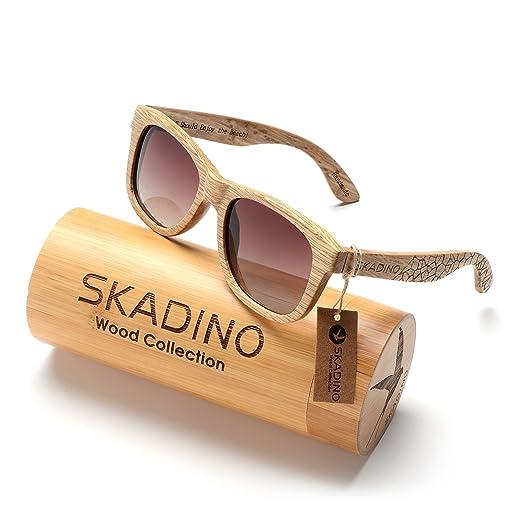 3324140d5e SKADINO Wayfarer Beech Wood Sunglasses with Polarized Lenses-Handmade  Floating Wooden Shades for Men