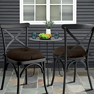 Sweet Home Collection Outdoor Furniture Cushion Bistro Chair Pads Premium Comfortable Thick Fiber Fill Tufted 15