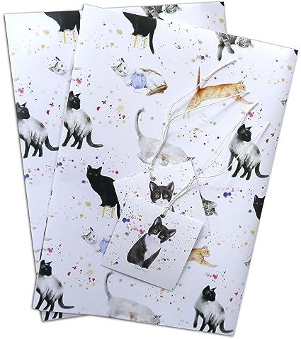 Gatos y gatitos de papel de regalo, 2 hojas y 2 etiquetas de regalo