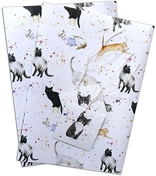 Gatos y gatitos de papel de regalo, 2 hojas y 2 etiquetas de ...
