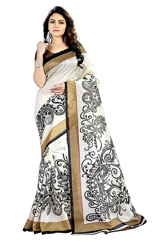 Jaanvi Fashion White & Black Bhagalpuri Silk Printed Saree