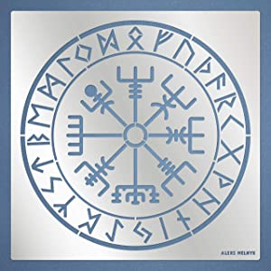 Aleks Melnyk #95 Metal Stencil/Vegvisir Viking Compass/Celtic Symbols, Runes/Runic Wayfinder/Magick Sigil for Protection Stencil 1 PCS/Template for Painting, Wood Burning, Pyrography and Engraving