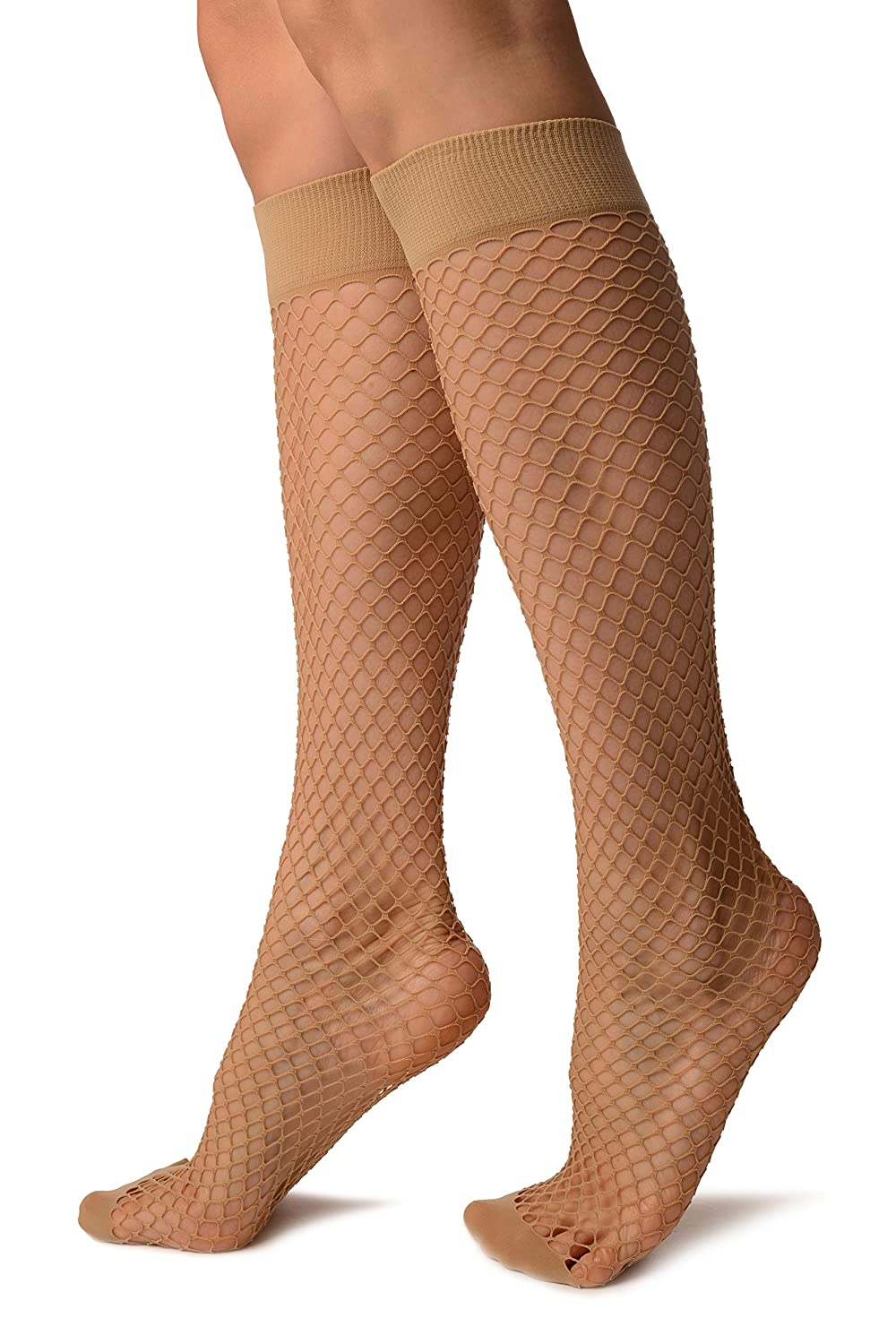 e293ef85540565 Beige Fishnet With Wide Top & Opaque Toe Knee High Socks - Socks at Amazon  Women's Clothing store: