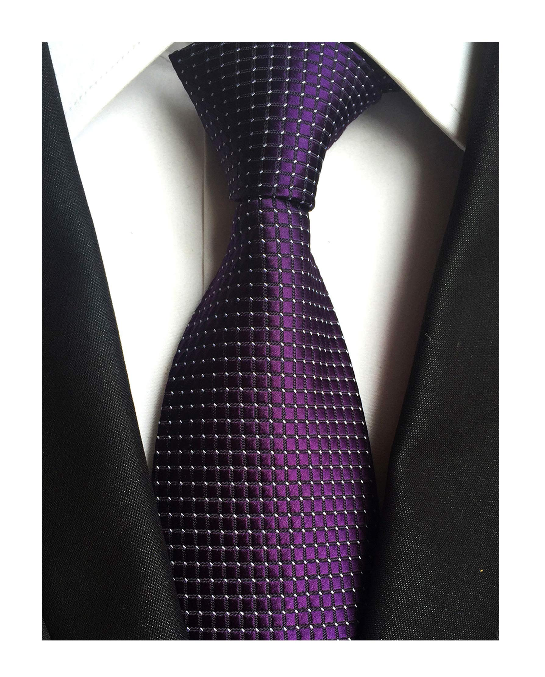 Mens Noble Dark Grape Purple Ties Unique Wedding Party Suit Microfiber Neckties