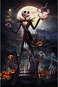 Jigsaw Puzzle 1000 Piece Wooden Puzzle Halloween Picture Family Decorations, Unique Birthday Present Suitable for Teenagers and Adults
