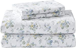 Laura Ashley Home | Flannel Collection | Bed Sheet Set - 100% Cotton, Pre-Shrunk & Brushed For Extra Softness, Cozy & Comfortable Bedding, Full, Le Fleur