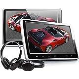 Eonon C1100A 10.1 Inch Headrest DVD Player Portable DVD Headrest Monitor For Car Digital Touch Screen Headrest DVD Player with Digital Touch Button HDMI USB SD Port (One Pair-Black)