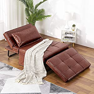Vonanda Leather Ottoman Sleeper Chair Bed,Small Modern Couch Multi-Position Convertible with Selected Leather Fabrics and Unique Sturdy Frame for Small Space, Chestnut Brown