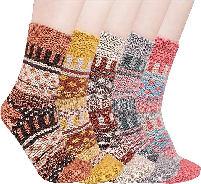 Dicke Socken Damen Warme Thermosocken Winter Bunte Stricksocken 5 Paar Lustige Socken Damen Thermo Socken mit Innenfrottee