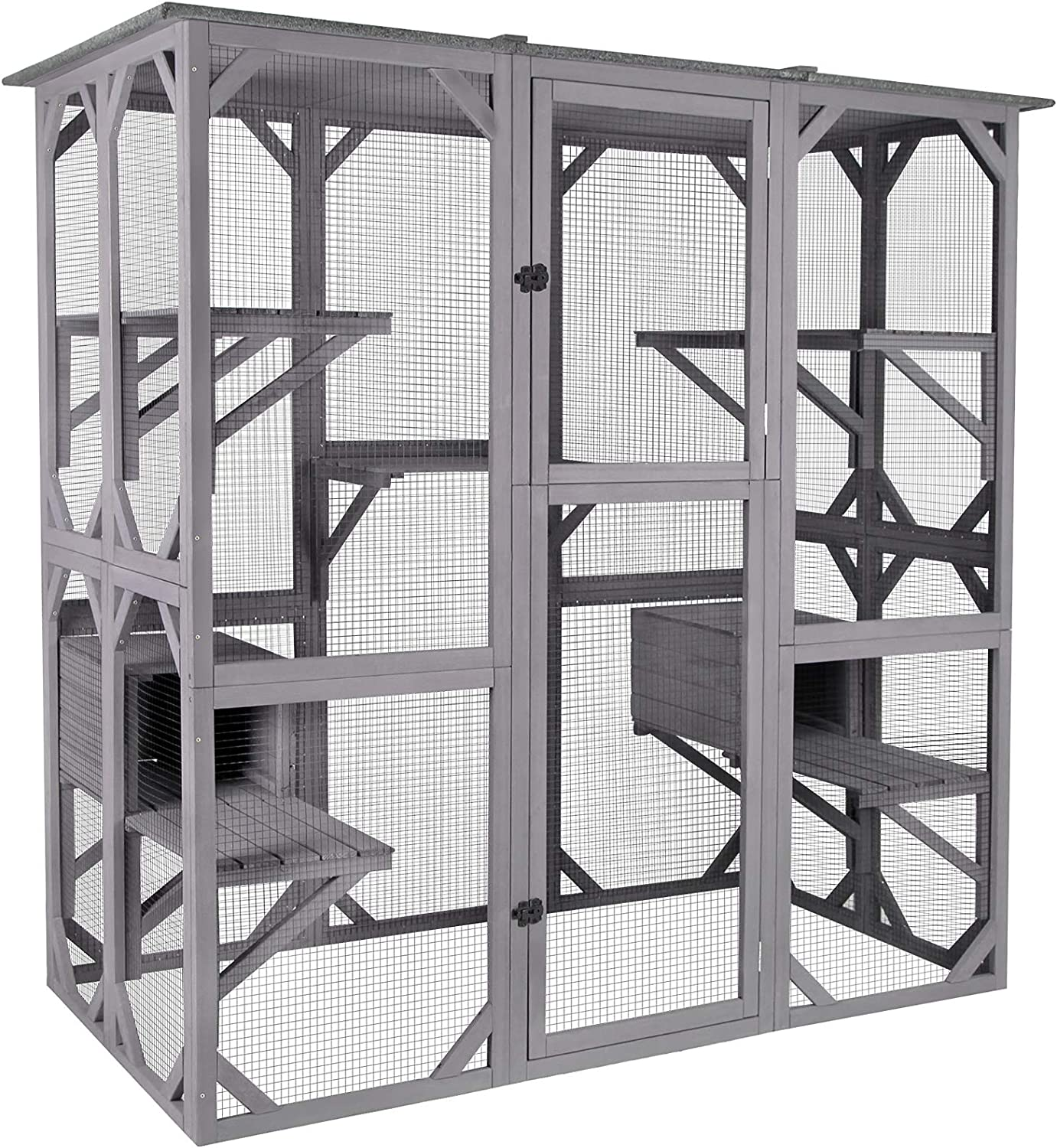 Aivituvin Cat House Outdoor Catio Kitty Enclosure With Super Large Enter Door Wooden Cat Cage Condo Indoor Playpen With Platforms Small House 71 Inch Pet Supplies