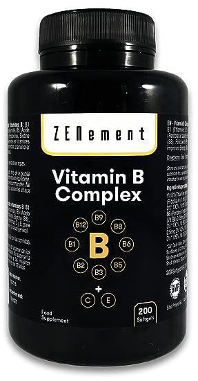 Complejo de Vitaminas B, 200 perlas | Contiene las ocho Vitaminas B (B1, B2, B3, B5, B6, B12, Biotina y Ácido Fólico) + Vit. C y E | Para mejorar la ...