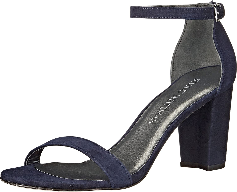 Stuart Weitzman Women's Nearlynude Heeled Sandal B0059CGFY4 7.5 C/D US|Nice Blue Suede
