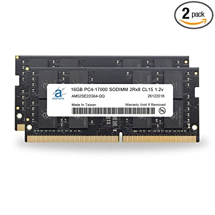 Adamanta 32GB (2x16GB) Laptop Memory Upgrade Compatible for Asus Republic  of Gamers GL552VW DDR4 2133Mhz PC4-17000 SODIMM 2Rx8 CL15 1 2v Notebook DRAM