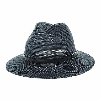 38f6817af WITHMOONS Fedora Panama Hat Black Faux Leather Belt Wide Brim AC6725 ...