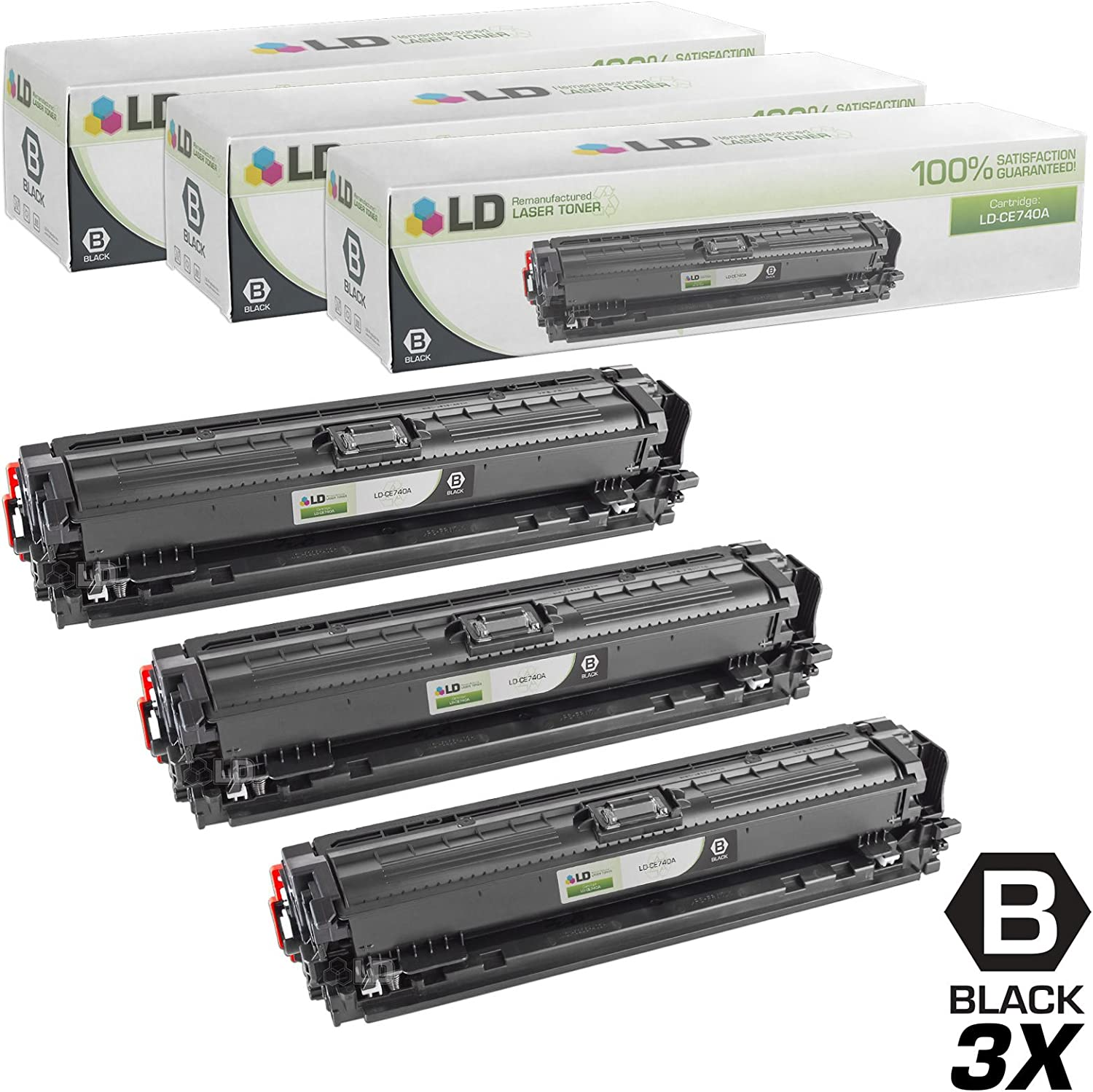 LD Remanufactured Toner Cartridge Replacement for HP 307A CE740A (Black, 3-Pack)
