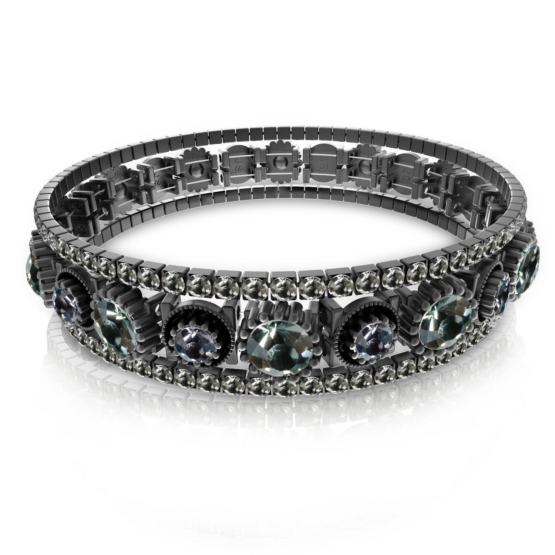 UHIBROS Zircon Stoppers Macrame Bracelet, Multicolor Crystal Unisex Adjustable Fashion Braid Bracelet Beads Braiding Bangle (Dark Grey)