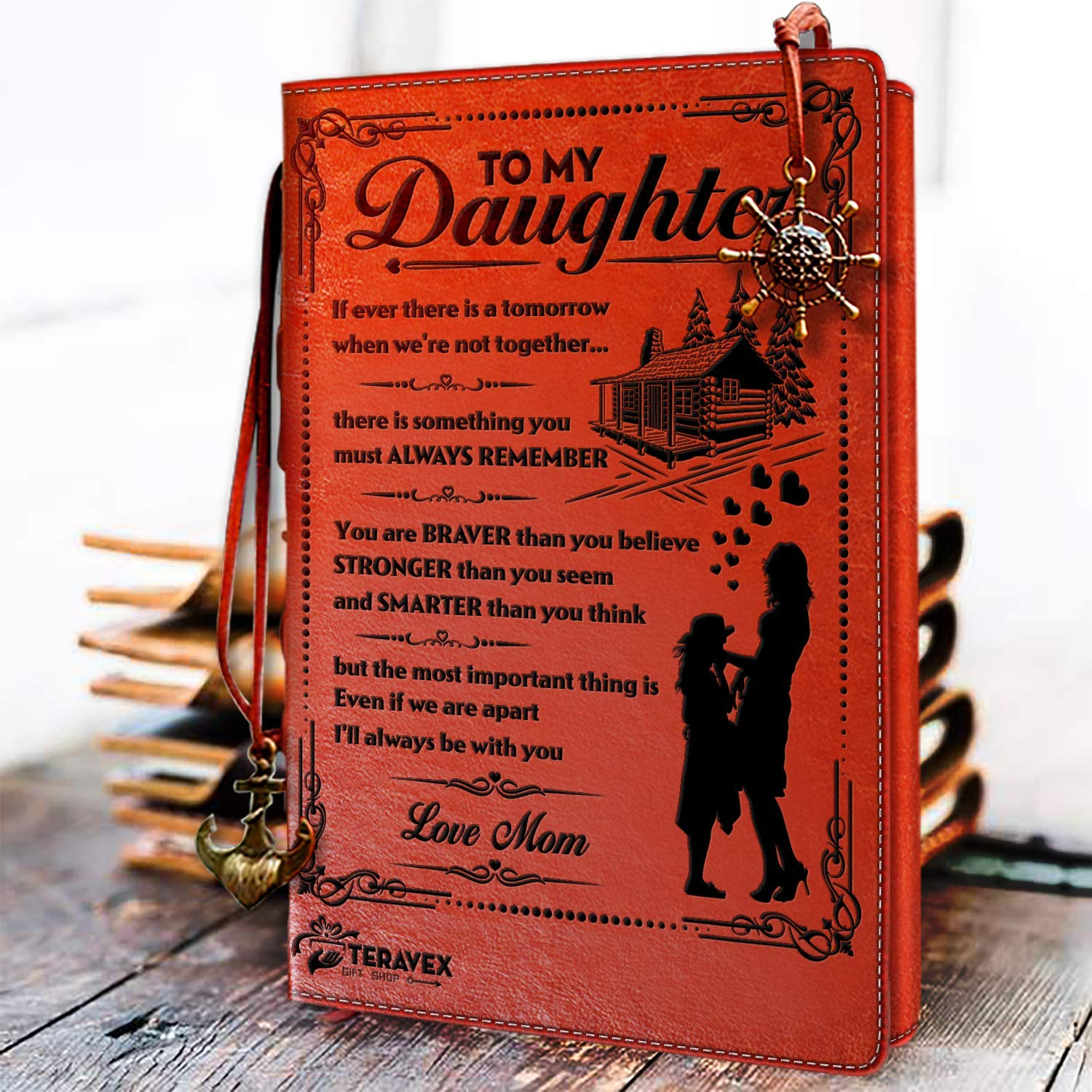 To My Daughter Leather Writing Journal from Mom - Drawing Sketch Book Travel Diary Refillable Notebook Birthday Wedding Graduation Back to School Gift from Mom to Daughter