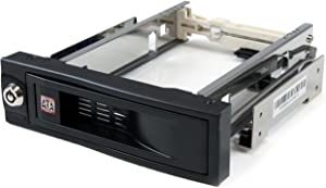 StarTech.com 5.25in Trayless Hot Swap Mobile Rack for 3.5in Hard Drive - Internal SATA Backplane Enclosure - Lockable drive bay (HSB100SATBK)