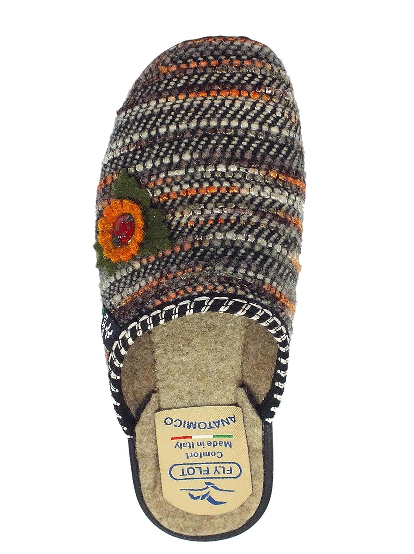 Flot In Donna Cucito Con Tessuto Marrone Pantofole Fioremarrone Fly p1x4wdp