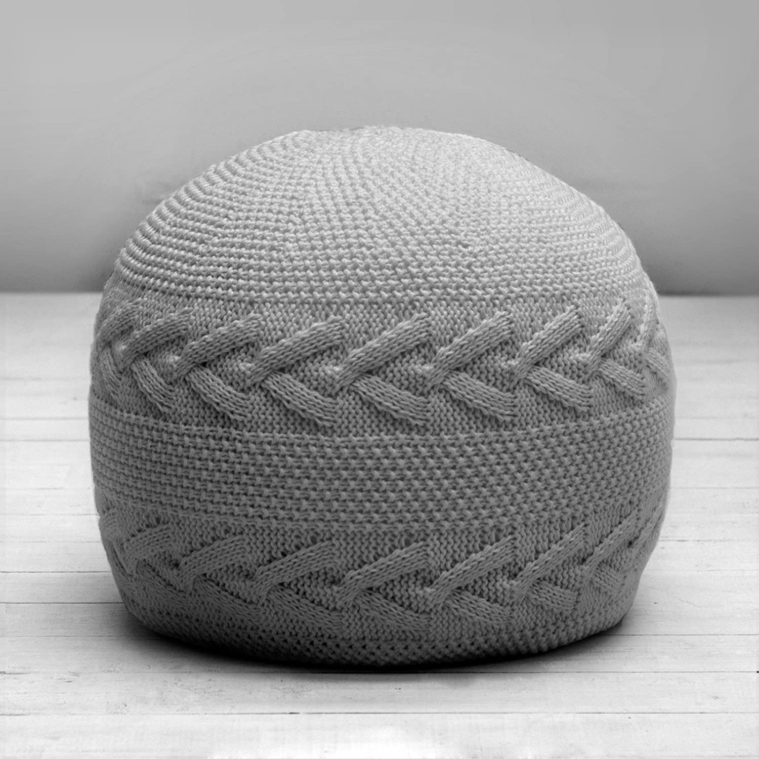 Knitted Round Grey Footstool Seat Pouffe Bean Bag Beanbag Filled With  Beans: Amazon.co.uk: Kitchen U0026 Home