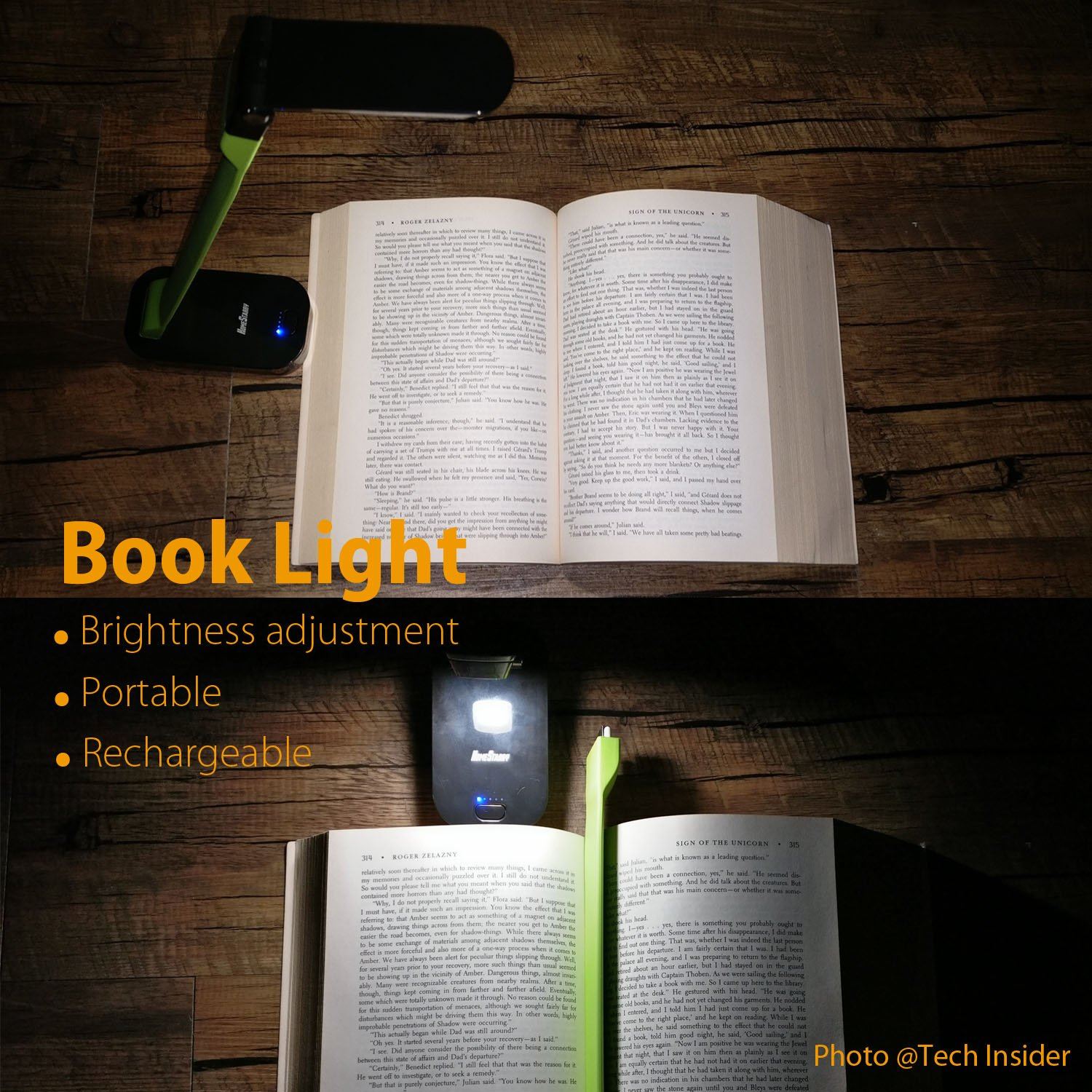 homestarry rechargeable 8 led lamp flexible and portable book