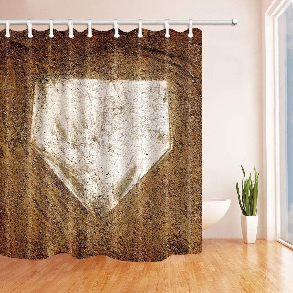 Baseball Home Plate Sports Shower Curtain Bathroom Waterproof Fabric Hooks Set