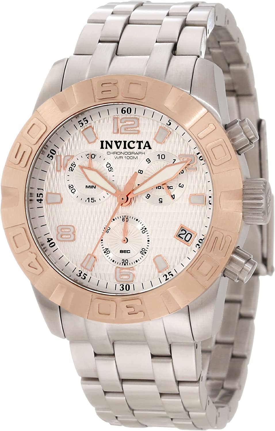 Invicta Men s 11451 Pro Diver Chronograph Silver Textured Dial Stainless Steel Watch