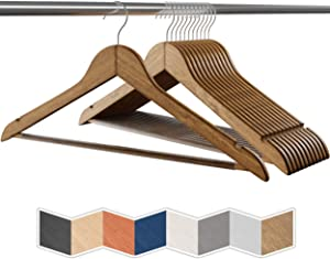 NEATERIZE Heavy Duty Wooden Hangers | Non-Slip Pant Bar & 360 Swivel Hook | Smooth Finish Clothes Hangers | Bulk Coat Hangers for Men | Wood Hangers for Suits, Coats, Clothing [30-Pack - Vintage]
