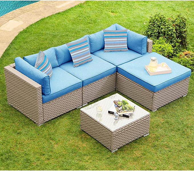Cosiest 5 Piece Outdoor Furniture Set Warm Gray Wicker Sectional Sofa W Heritage Blue Cushions Glass Coffee Table 3 Stripe Woven Pillows For Garden Pool Backyard Kitchen Dining Amazon Com