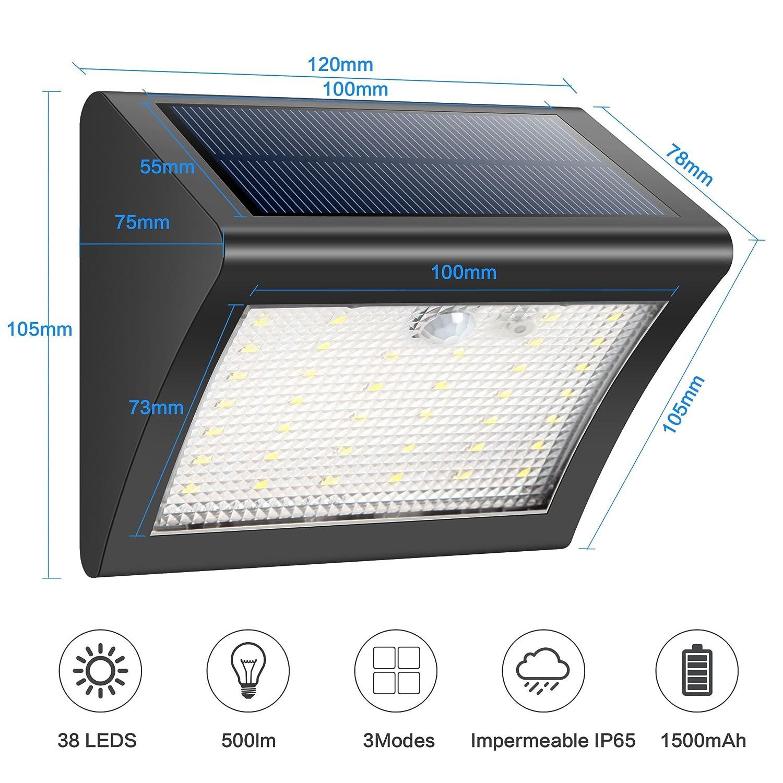 HETP Foco Solare Exterior 38 Leds Luz Solar Jardín,Luces Sensor de Movimiento Impermeable Seguridad Luces Solares 3 Modos Inteligente Luz Potente Brillante ...