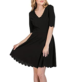 9e8b5b7593 Romwe Women s Scalloped Hem Stretchy Knit Flared Skater A-Line Dress ...