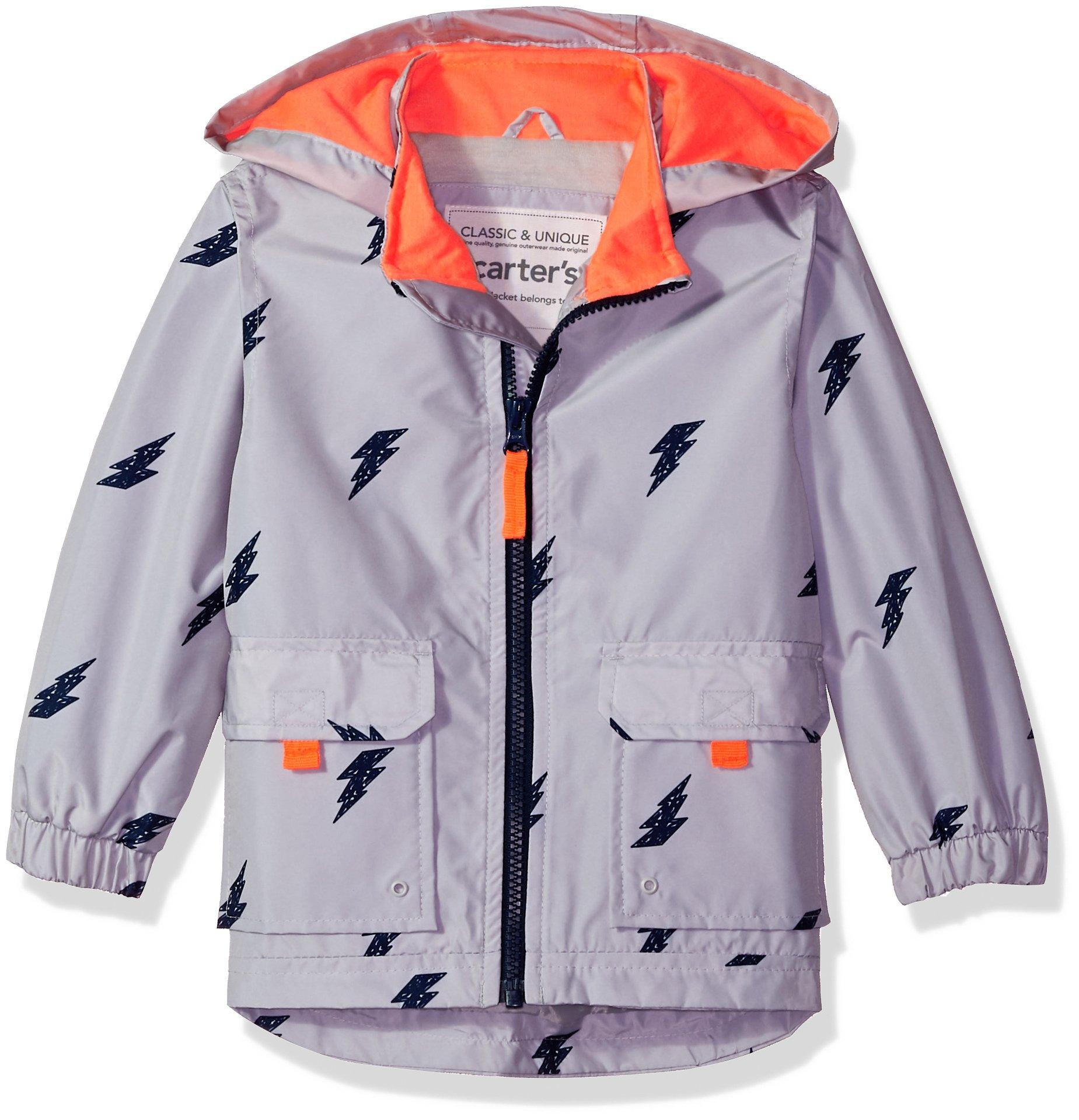Carter's Little Boys' His Favorite Rainslicker Rain Jacket, Lightening Bolt Gray, 5/6