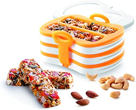 Tescoma Health Bar Press Maker- Make A Healthy Snack in Bar Form Great for Keto Diet Includes 25 Wrapping Bags for Bars and A Recipe Book