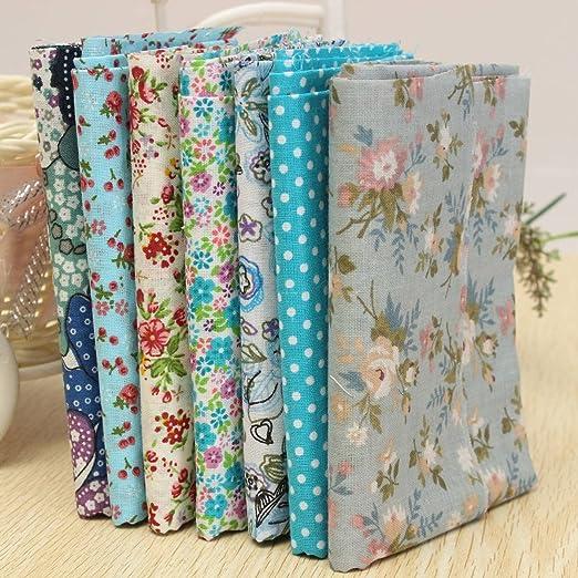 KING DO WAY Juego de 7 telas de algodón precortadas para patchwork, 50 x 50 cm, color azul: Amazon.es: Hogar