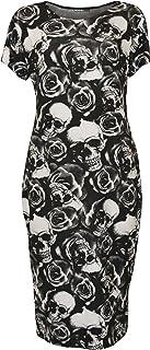 WearAll Womens Plus Size Print Short Sleeve Scoop Stretch Ladies Midi Dress 14-28