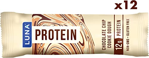 LUNA PROTEIN – Gluten Free Protein Bars – Chocolate Chip Cookie Dough – 1.59 Ounce Snack Bars, 12 Count