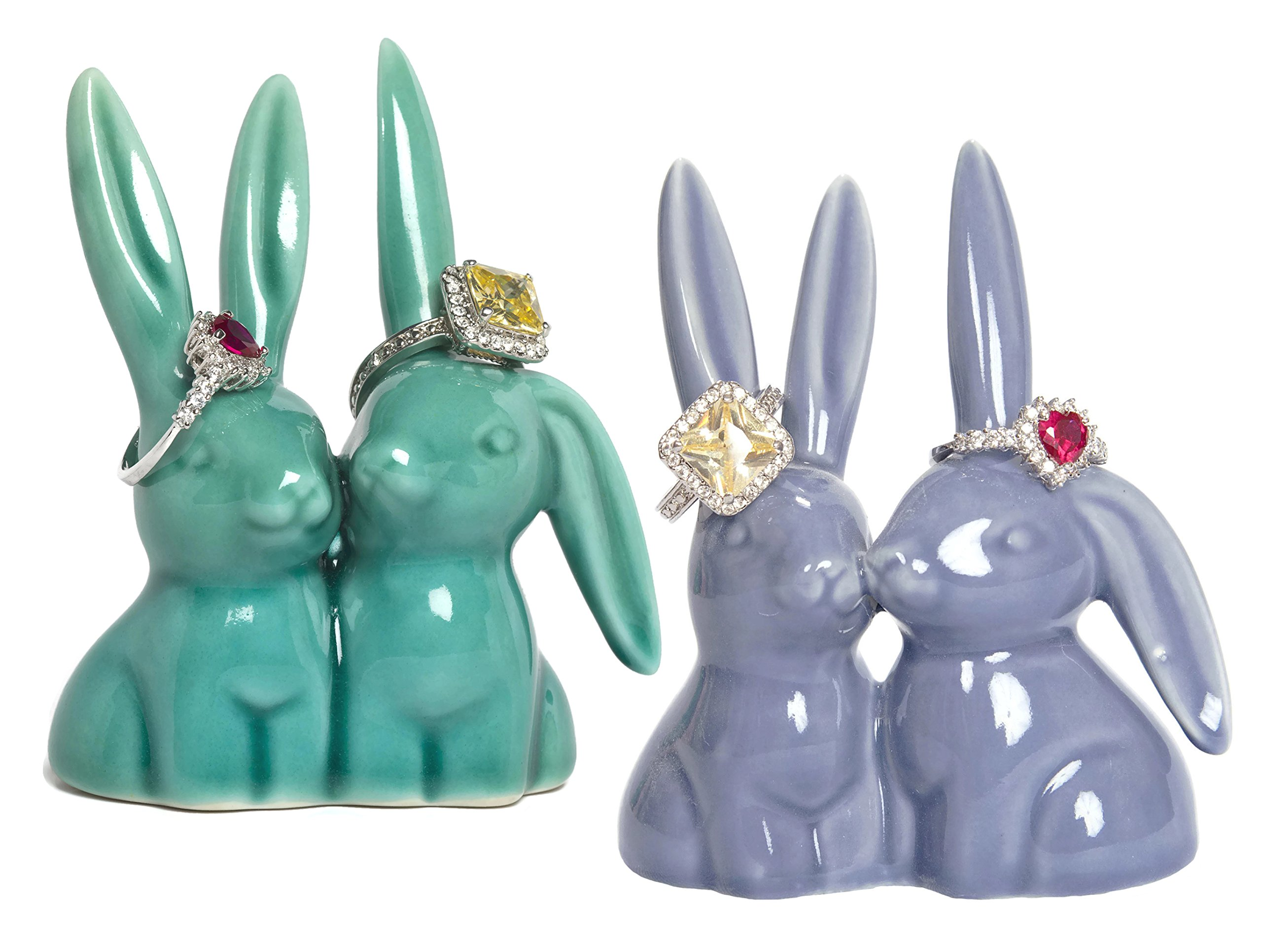 Beth Marie Luxury Boutique Bunny Rabbit Ring Holder (2-Pack), Adorable Purple and Teal Ceramic Engagement and Wedding Ring Holder